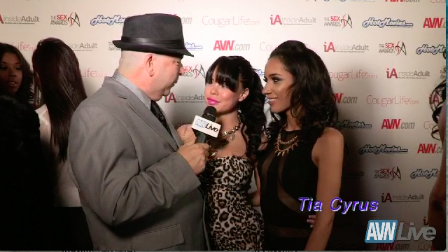 Nikki Delano and Tia Cyrus on the red carpet at the Sex Awards 2013