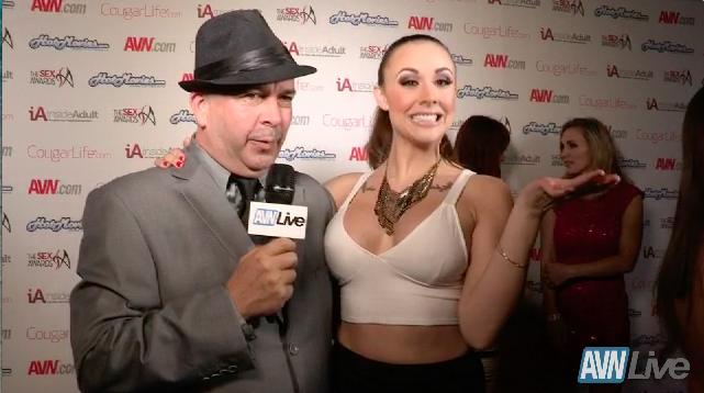 Chanel Preston on the red carpet at the Sex Awards 2013