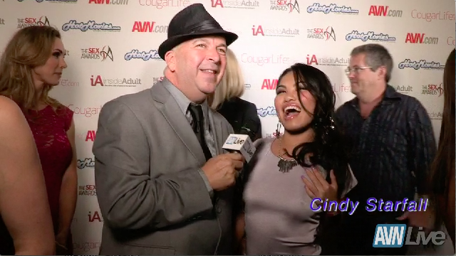 Cindy Starfall on the red carpet at the Sex Awards 2013